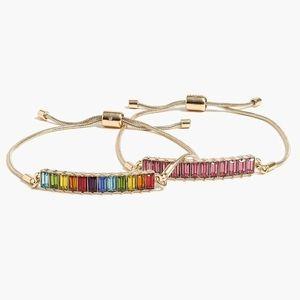 NWT J. Crew Baguette Rainbow Bracelet Set